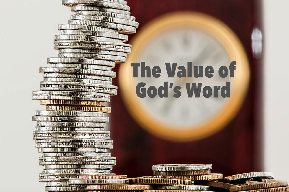 "Coins with text ""the value of God's Word"""